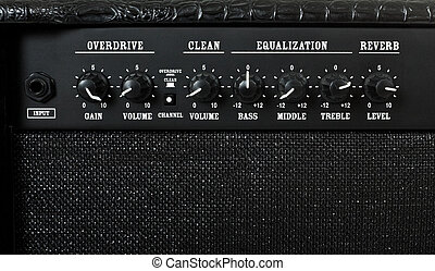 guitar amplifier control panel closeup