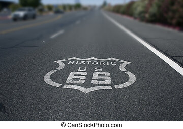 Route 66 Sign - Historic Route 66 Sign on Asphalt road