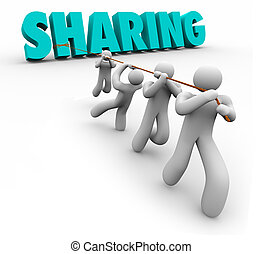 Sharing Economy People Team Pulling Word Working Together -...