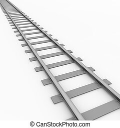 Rail track - 3D rendered illustration of a railroad track