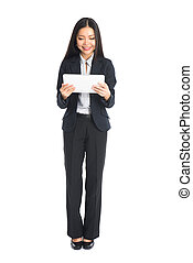 asian business woman on tablet