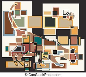 Sniffing cat blocks - Colorful abstract eps8 editable vector...