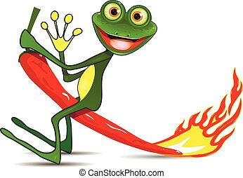 Frog on hot pepper - Illustration merry green Frog on hot...