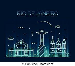 Rio de Janeiro City skyline Trendy line art style - Rio de...