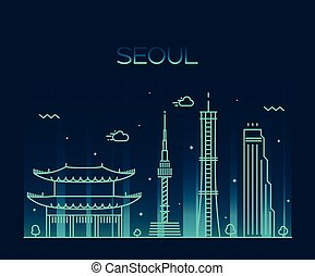 Seoul City skyline Trendy vector line art style - Seoul City...
