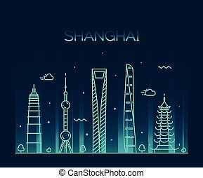 Shanghai City skyline silhouette vector line art