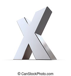 Shiny Letter X - shiny 3d letter X made of solid...