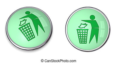 Button Tidy Man with Wastebin - green button with...