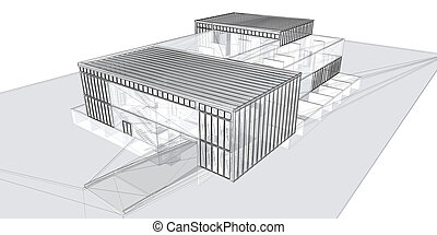 3D rendering wire-frame - 3D rendering wire-frame of...