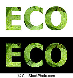 Textured Word Eco - word ECO textured with green leafs (with...