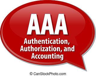 AAA acronym definition speech bubble illustration - Speech...