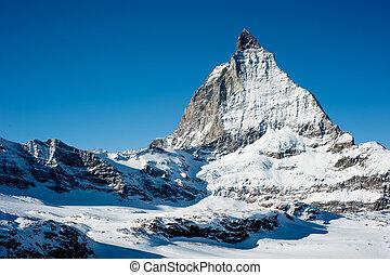 Matterhorn in Winter, view from Trockener Steg, Zermatt,...