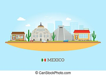 Mexico landmarks skyline. Mexican tourist attractions vector...