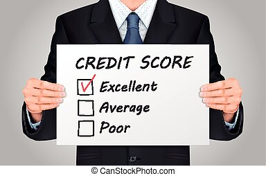 businessman holding credit score survey poster