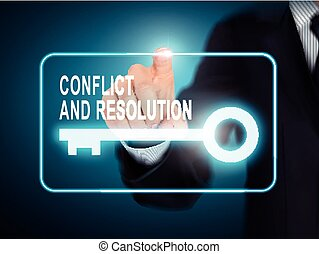 male hand pressing conflict and resolution key button over...