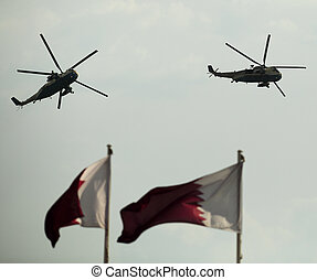 Helicopters at Doha parade - Helicopters of the Qatar Emiri...