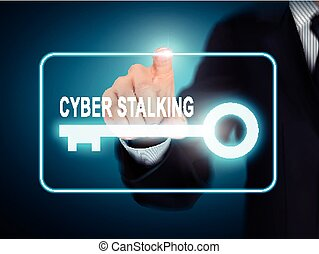 male hand pressing cyber stalking key button over blue...
