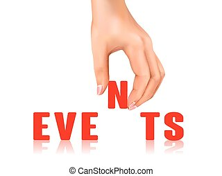 events word taken away by hand over white background
