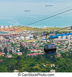 BATUMI, GEORGIA - JULY 20: view from cabin cableway -...