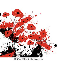 Abstract poppies from paint splash