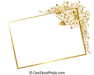 Illustration of floral golden frame with swirls, butterfly...