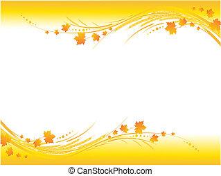 Illustration of horizontal yellow autumn frame -...