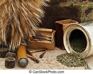 Hunting - Photo of old matches for hunting with fox brush...