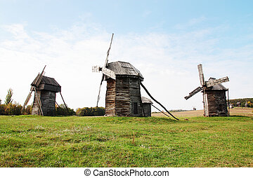 "Old windmill in ""Pirogovo"" museum in Ukraine"