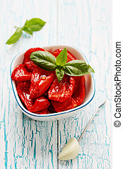 Sun dried tomatoes with garlic and basil