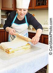Chef, puesto, mastic, en, pastel,