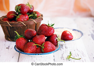 home-grown strawberries - Fresh home-grown organic...