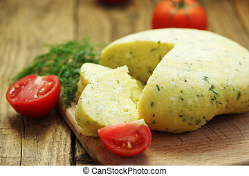 home-hard cheese with fennel and tomatoes