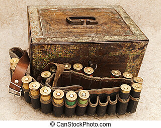 cartridge for hunting rifle and old chest - Photo of old...