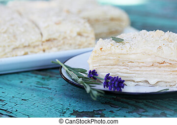 Napoleon cake with custard and lavender