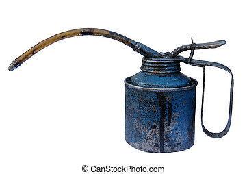 Old oil can isolated - Old oil can, isolated on a pure white...