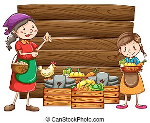 Farm products - Farmers and vegetables in the wooden box
