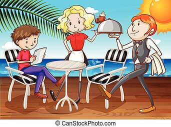 Dining - Man being served at outdoor dining