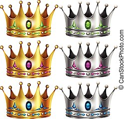 Crowns - Gold and silver crowns with gems