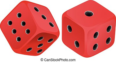 Red dices - Two red dices with black dots