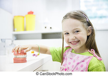 Girl holding model of human jaw with dental braces - Little...