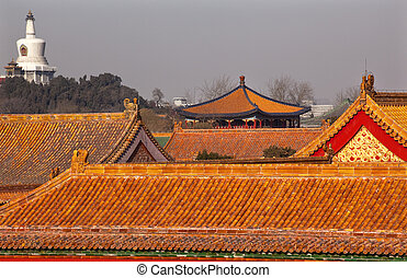 Beihai Stupa Forbidden City Yellow Roofs Gugong Decorations Emperor\'s Palace Built in the 1400s in the Ming Dynasty