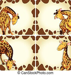 Giraffe in different positions on blank card