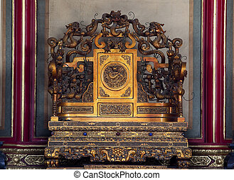 Emperors Throne Gugong Forbidden City Palace Beijing China -...