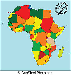 Map of africa - Political map of africain colors, easy to...