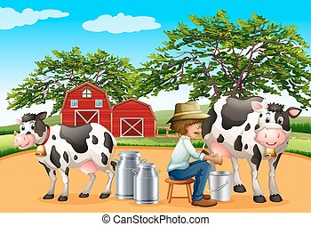 Milking - Farmer sitting on a stool milking cows in front of...