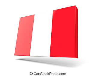 Square icon with flag of peru isolated on white