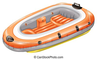 Rubber boat - Orange rubber boat with seat and no paddle