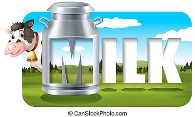 Dairy Products - Poster of milk with a pictue of a cow and...