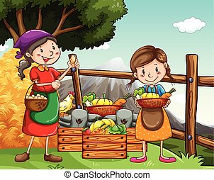 Farmers collecting vegetables and eggs