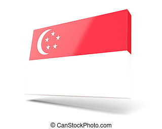 Square icon with flag of singapore isolated on white